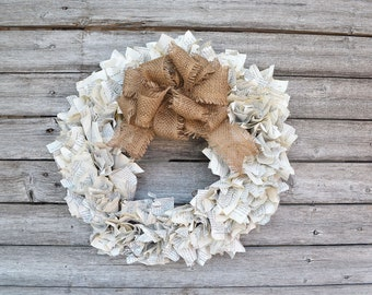 Paper Wreath with Burlap Bow