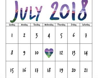 Printable Due Date Calendar - Mountains
