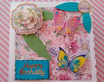 Handmade teal and pink butterfly birthday card