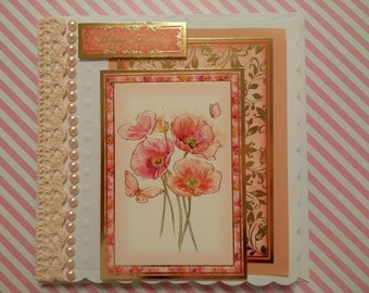 Peach, red and gold Poppy Birthday card