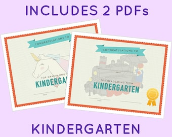 kindergarten graduation certificate template girls unicorn etsy