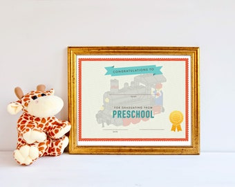 preschool graduation certificate template boys girls lego train boys printable award certificate pdf instant download
