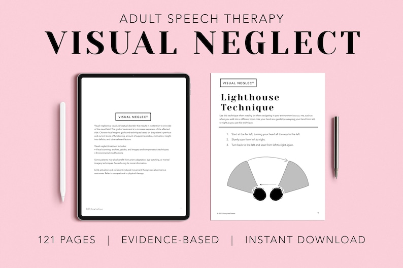 Visual Neglect Pack PDF Patient Handouts Worksheets image 0