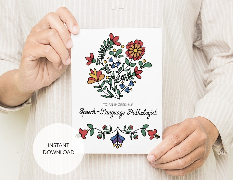 Card for SLP Speech Language Pathologist Thank you PDF image 0
