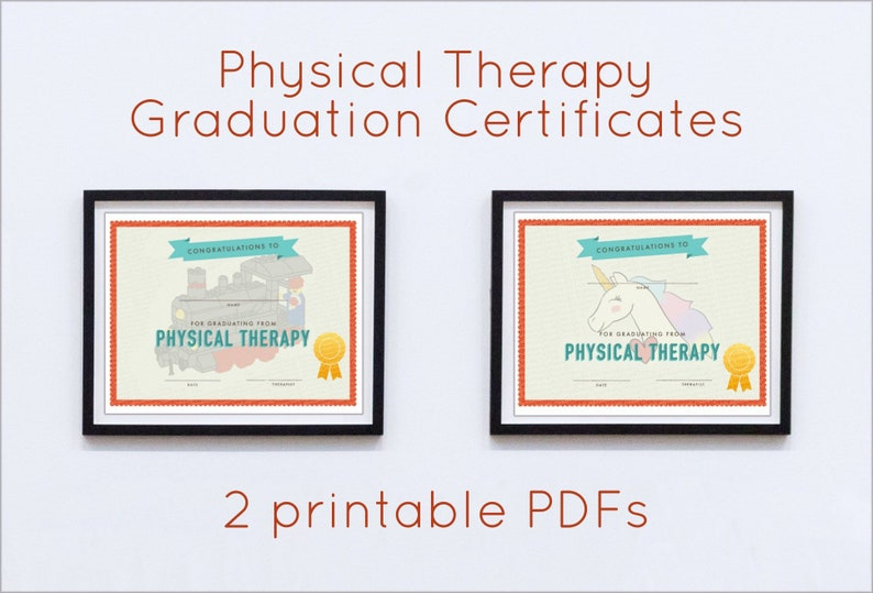PT Graduation Certificate Pack, PDF Digital Downloads, Pediatric Physical  Therapy, Physical Therapist, Train and Unicorn