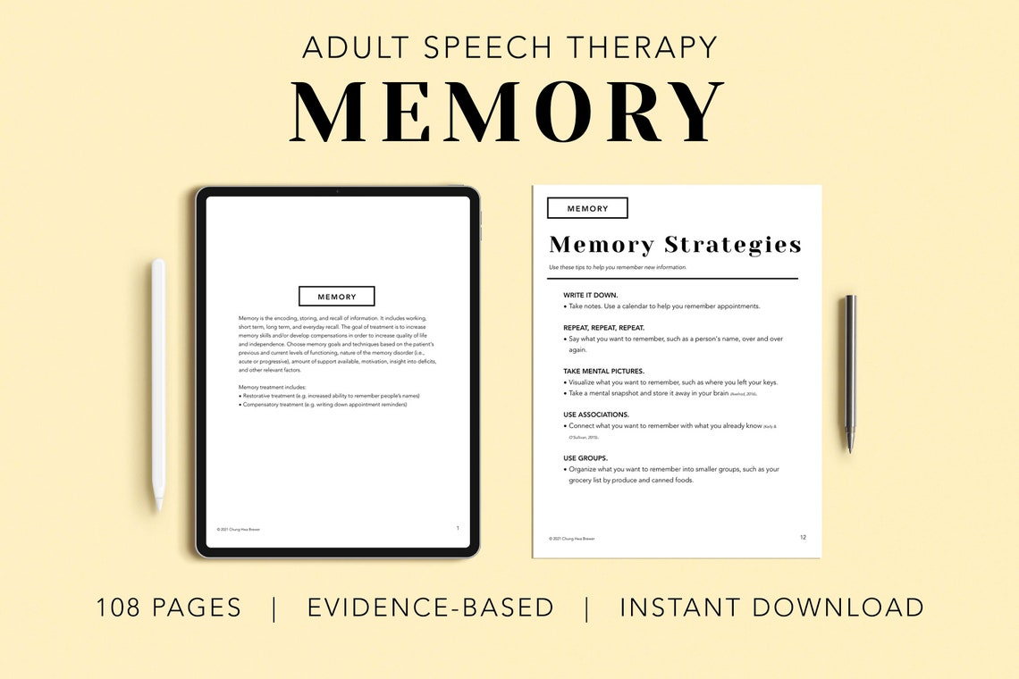 Memory Pack PDF Patient Handouts Worksheets Resources image 0