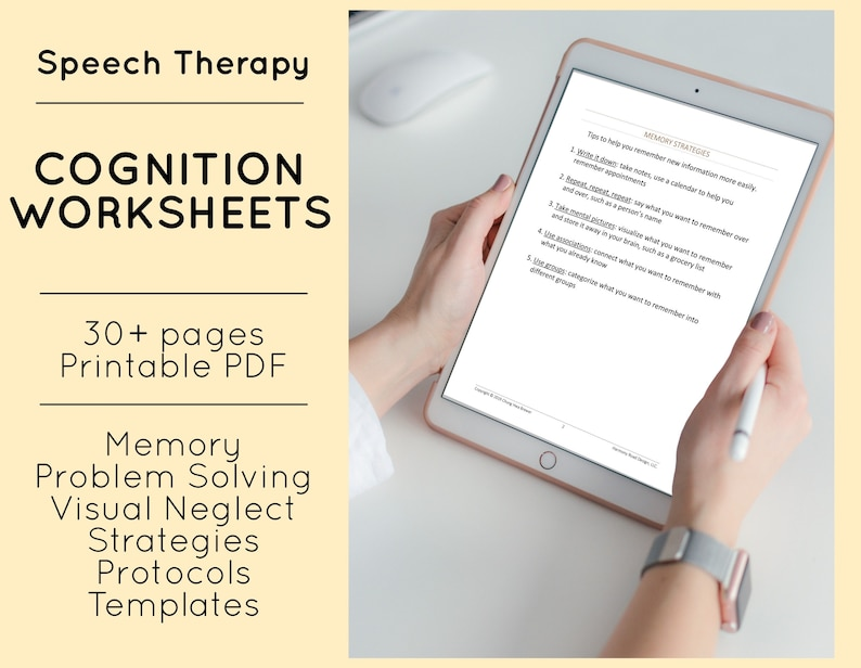Speech Therapy Cognition Patient Handouts SLP Treatment Forms image 0