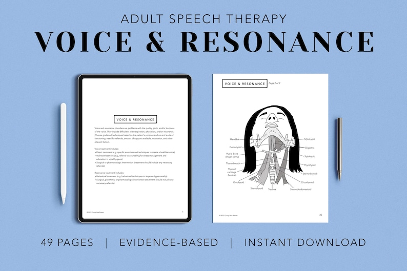 Voice and Resonance Pack PDF Patient Handouts Worksheets image 0