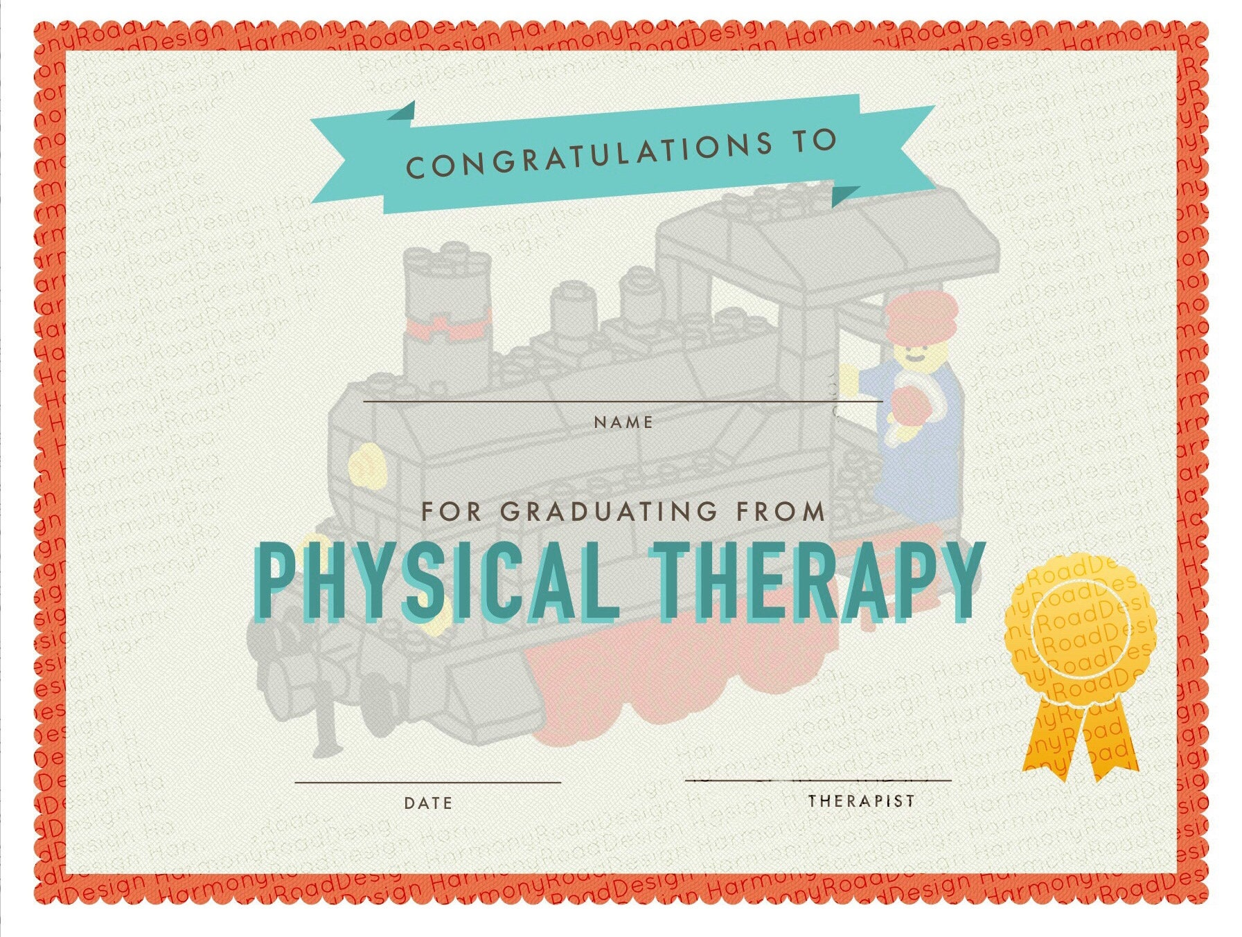Physical Therapy Graduation Certificate Template Lego Train