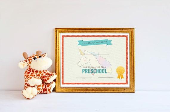 Preschool Graduation Certificate Template Girls Unicorn Etsy