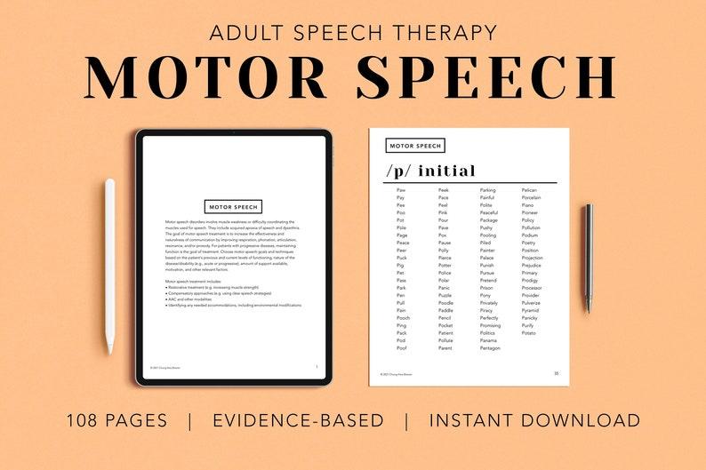 Motor Speech Pack PDF Adult Patient Handouts Worksheets image 0