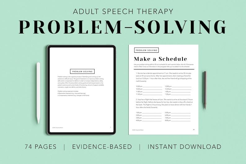 Problem Solving Pack PDF Patient Handouts Worksheets image 0