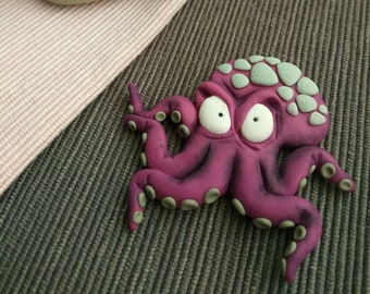 Serious Octopus / polymer clay brooch