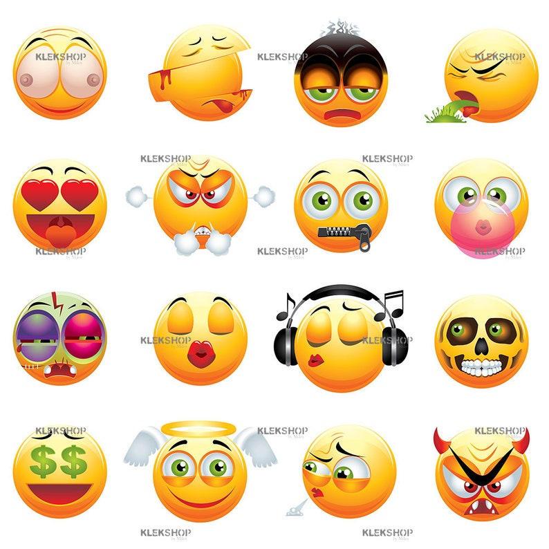 Funny Emoji Yellow Collection Clip Art/Emoticons Set/Digital file/Editable  Vector PDF and EPS + PNG, svg, dxf, jpeg Files, Instant Download
