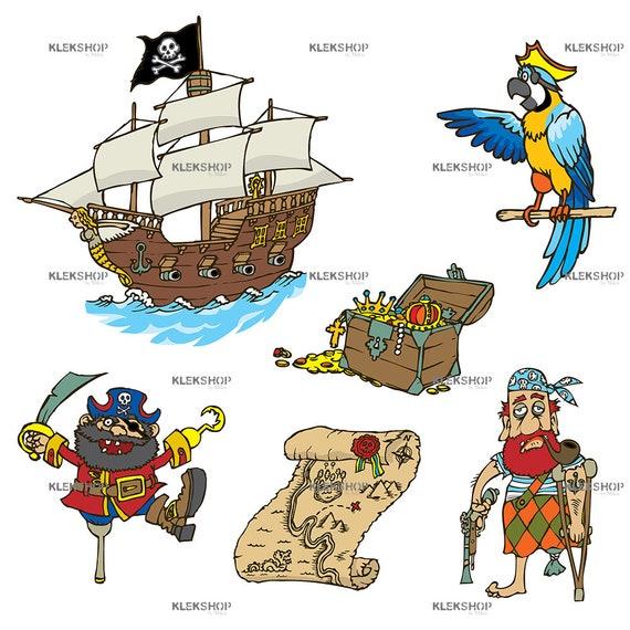 Lustige Piraten Cartoon Kinder Clipart Segeln Set Clipart Nautische Clipart Digitale Datei Editierbare Vector Pdf Und Eps Png Svg Dxf