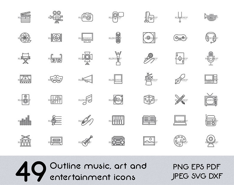 Music Icons,Vectors Icons,Cricut,Outline Clip Art,Vector Cut File,Svg,Dxf,Jpg,Eps,Png,Digital Download Clipart Art Icons Svg Movie Svg