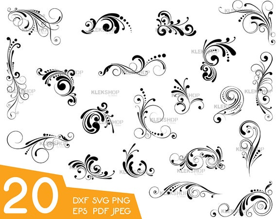 Swirl Decorationdividers Svg Cut Files Instant Download Etsy