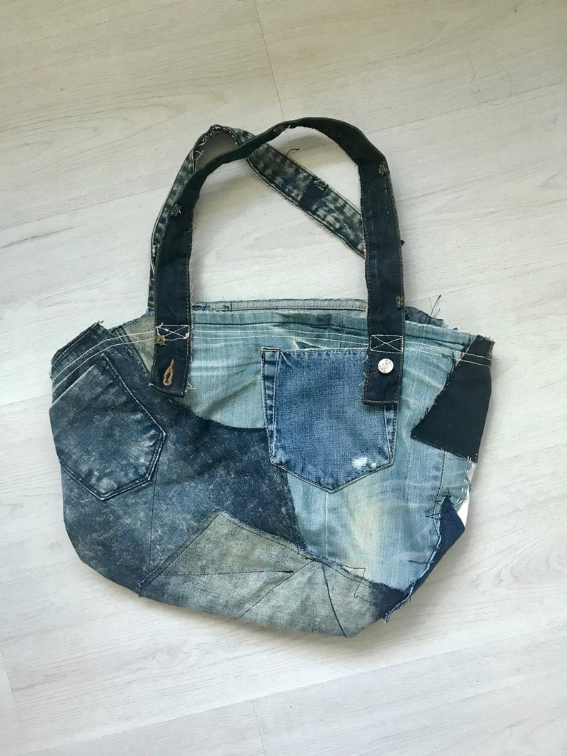 1727a59f4 Up-Cycled Denim Bag Repurposed Denim Shoulder Bag Hobo bag | Etsy