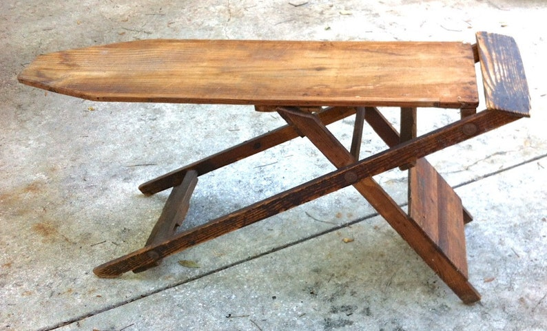 Antique Wood Ironing Board Vintage Folding Rustic Primitive Made In Vincennes Indiana