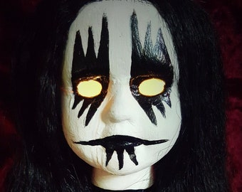 Corpse Paint Black Metal Goth Death Skull Porcelain Doll Head LED Light Horror Doll Nightlight Lords Of Chaos Horror Creepy Halloween OOAK