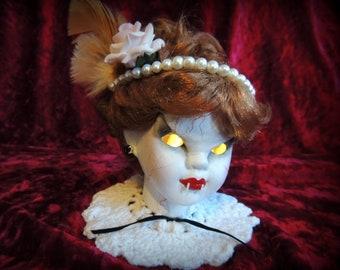 Vampire Porcelain Doll Head LED Light, Horror Doll, Nightlight, Lamp, Horror, Creepy, Halloween, Curiosity Cabinet, OOAK, Macabre