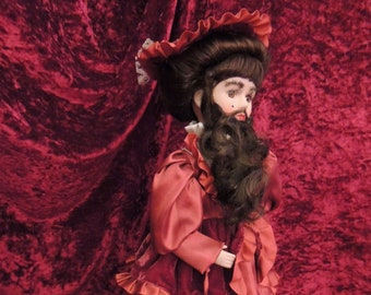 Victorian style Bearded Lady Porcelain Freakshow Doll, Circus, Sideshow, Carnival, Horror, Halloween, Curiosity Cabinet, Oddity, OOAK