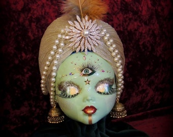 All Seeing Eye Mystical Fortune Teller style Doll Head, Freak Show, Horror Doll, Horror, Psychic, Halloween, Curiosity Cabinet OOAK Macabre
