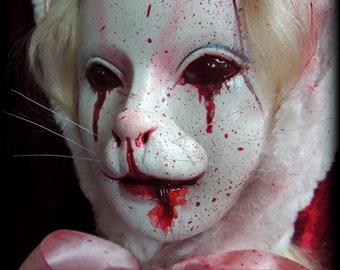 Zombie Psycho Hell Bunny Doll Head, Zombunny, Horror Rabbit Alice in Wonderland Creepy Gothic Decor Halloween Macabre OOAK Curiosity Cabinet
