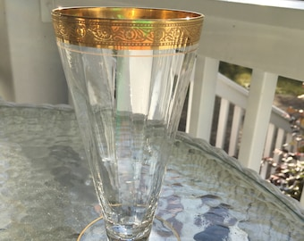 Antiques Popular Brand Set Of 3 Antique Gold Gilted Rimmed Pilsner Type Glasses Latest Fashion Decorative Arts