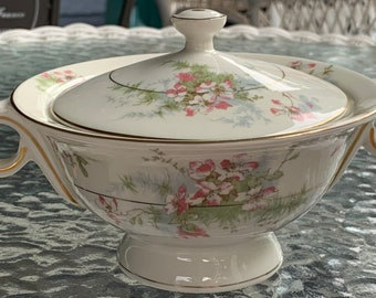 Theodore Haviland Apple Blossom Gold Trim Large Covered Sugar Bowl with Lid