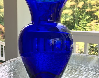 Vintage Cobalt Blue Tall Vase