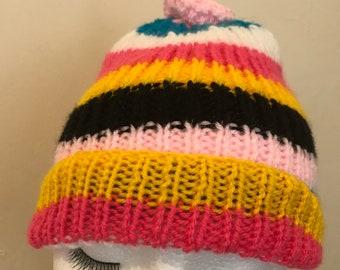 e4cafb5b99e Rainbow Stripe Bobble Hat