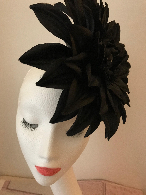 Day of the Dead Gothic Fascinator Black Skull Flower  3ea496fddeb