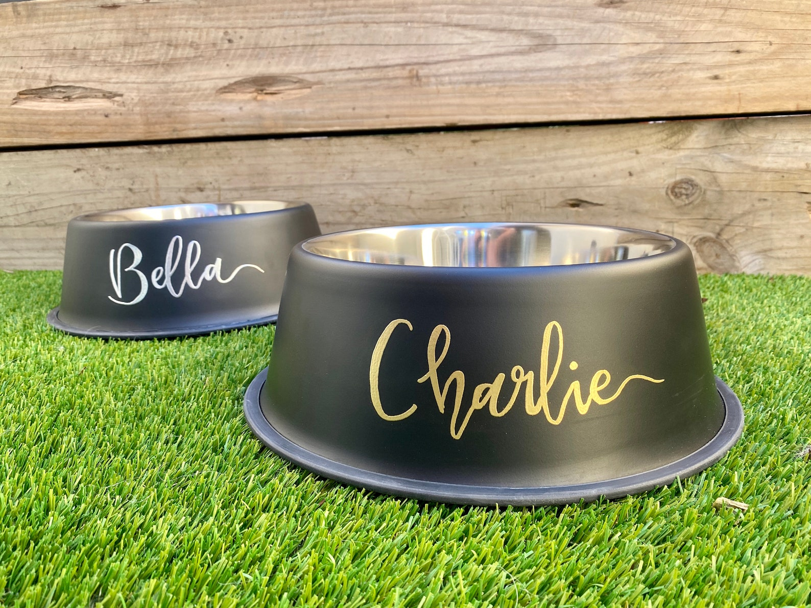Two personalised stainless steel dog bowls