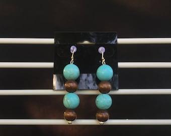 Howlite & Wood earrings
