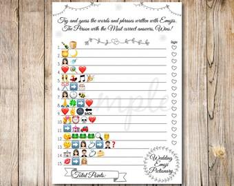 Wedding Emoji Pictionary Game, Bridal Shower Games, Bridal Games, Emoji Pictionary Bridal Game, Black bridal games, Wedding Emoji Game