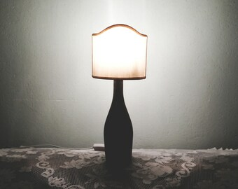 Lamp with brown Flock and dirty white lampshade