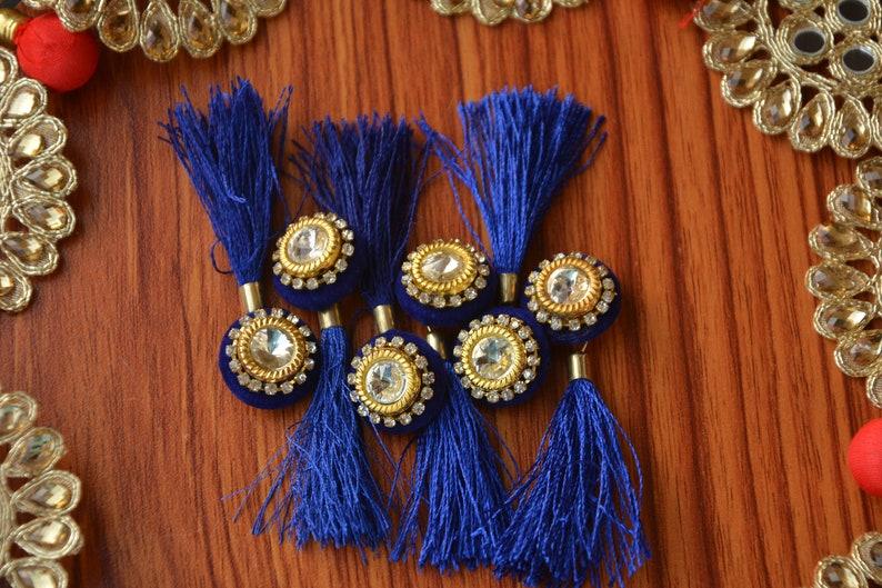 Blue Tassel 6 Pcs Buttons Handmade Tassel Silk Tassel Etsy
