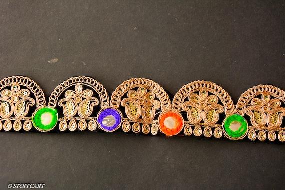 Stunning Black and Gold Lace Trim Ribbon Sewing Craft Wedding Sari Border 80 cm