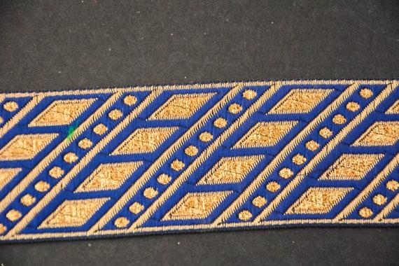 Bright Blue Jacquard Trim, Blue Strap, Craft Ribbon, Jacquard Ribbons, supplies, Lace Trim by Yard, Indian Lace Trim, Craft supplies, Ribbons, Sewing supplies ec7ea6