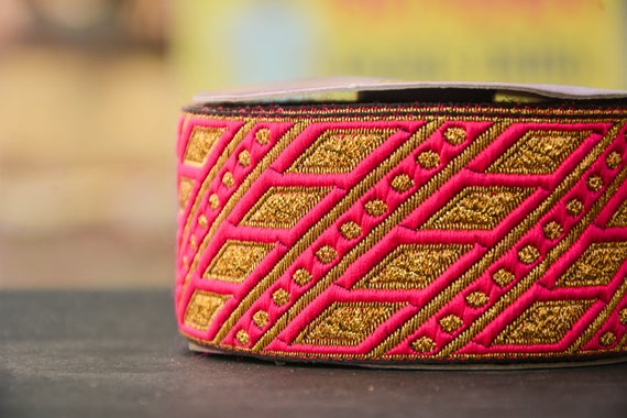Magenta Gold Jacquard Trim, Red Red Red Strap, Craft Ribbon, Jacquard Ribbons, Lace Trim by Yard, Indian Lace Trim, Craft supplies, Sewing supplies 39ff8d