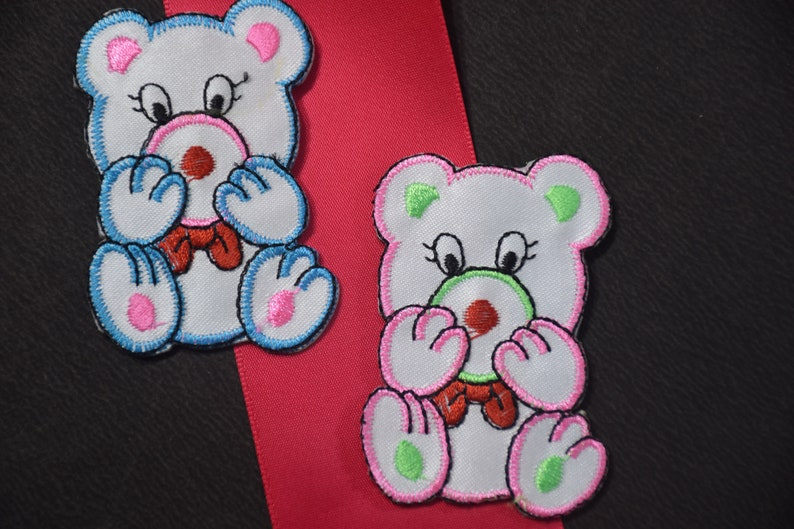 346c84a88e66 Set of 2 Teddy Bear Sticker Iron on Patches iron on animals