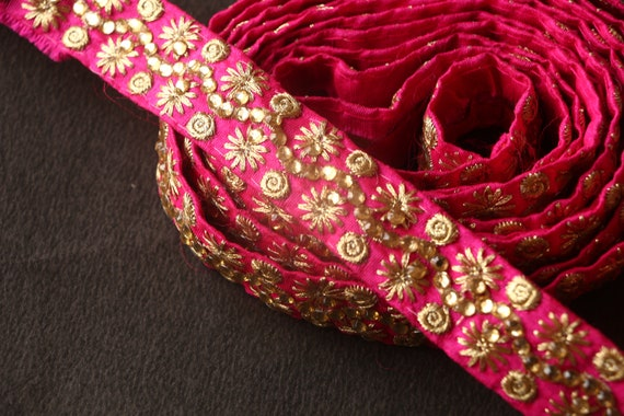 1b65125f67d6 Trims and Laces, Pink Golden Trim Lace, Indian Laces, Sari Lace Border,  Fabric Lace, Zari Lace, Sewing Supply, Embroidered Lace, Fabric Lace