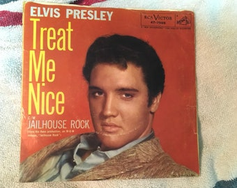 Elvis Presley Treat Me Nice Jailhouse Rock  45 Vinyl  47-7035