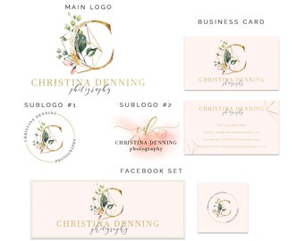 Premade Logo, Logo Design, Monogram Logo, Initial Logo, Branding Kit, Gold Logo, Watercolor Logo, Floral Logo, Flower Logo, Business Logo