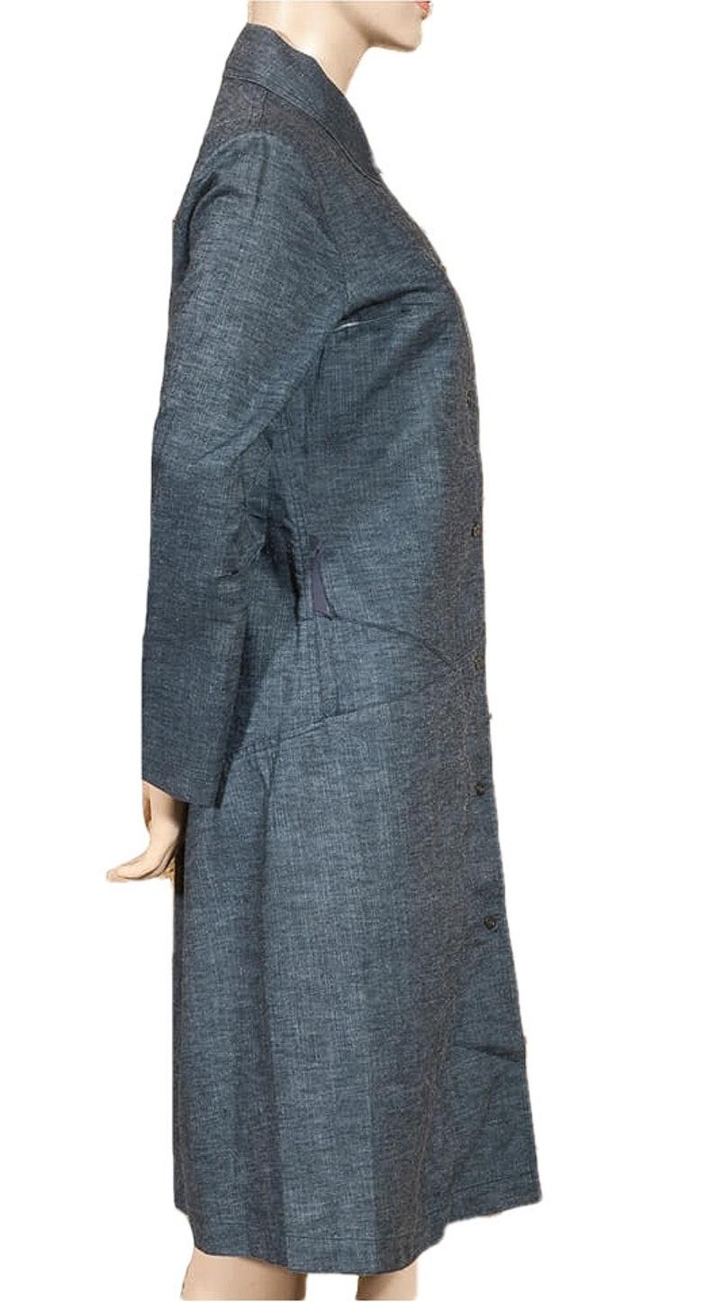 Vintage 90/'s /'COP COPINE PARIS/'  /'Bonnie/' blue greyish denim robe-manteaucoat with A-line and press stud fastening