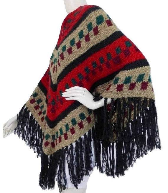 Multicoloured vintage crochet PONCHO in Mexican st