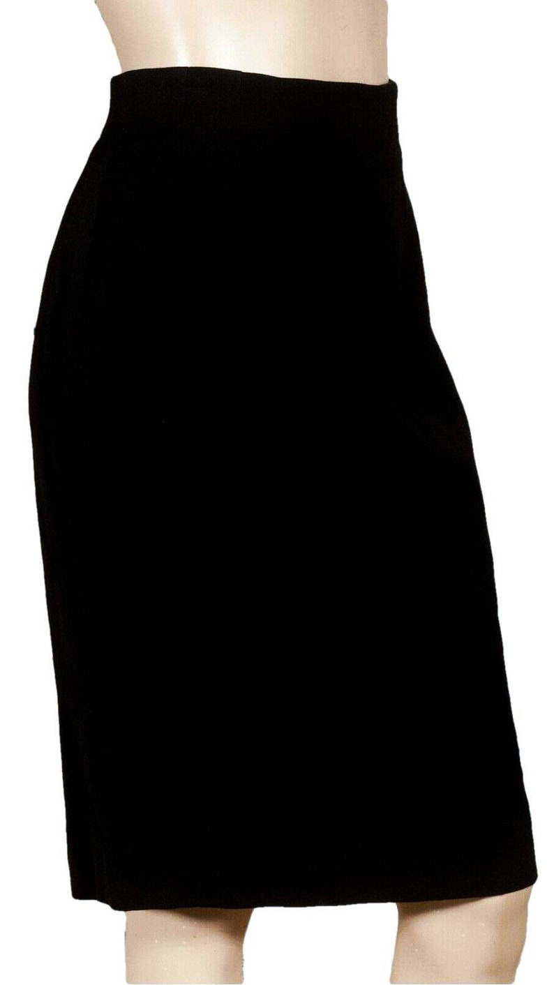 Vintage 70/'s /'FOURRURES SALVADOR DALI/' black wool pencil skirt with a repeat embroidered Salvador Dali signature over surface of the fabric