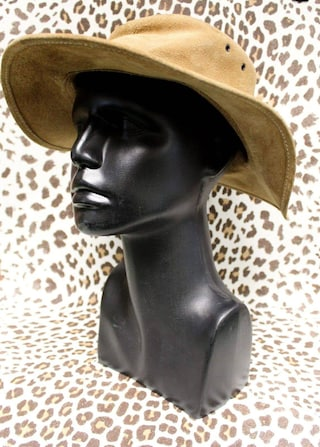For summery high suns, light tan suede 70's INKOSI brimmed Fedora hat