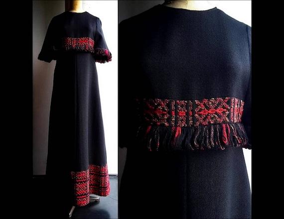 Vintage 70's Finnish AROLA bohemian black woven wo